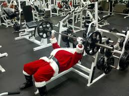 santa in gym bench press